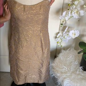 Milly of New York strapless floral gold dress sz 8
